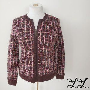 Allison Daley Petite Cardigan Sweater Brown Pink